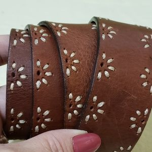Buckle Distressed Brown Leather Belt Size L